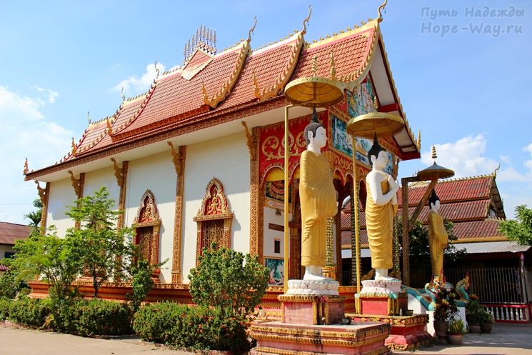 Nice view of the Buddhist temple in Laos